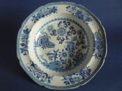 Rare Spode 'Grasshopper' Pattern Soup Plate with 'Group' Pattern Border c1815